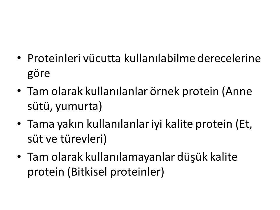Proteinleri vücutta kullanılabilme derecelerine göre