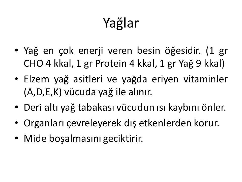 Yağlar Yağ en çok enerji veren besin öğesidir. (1 gr CHO 4 kkal, 1 gr Protein 4 kkal, 1 gr Yağ 9 kkal)