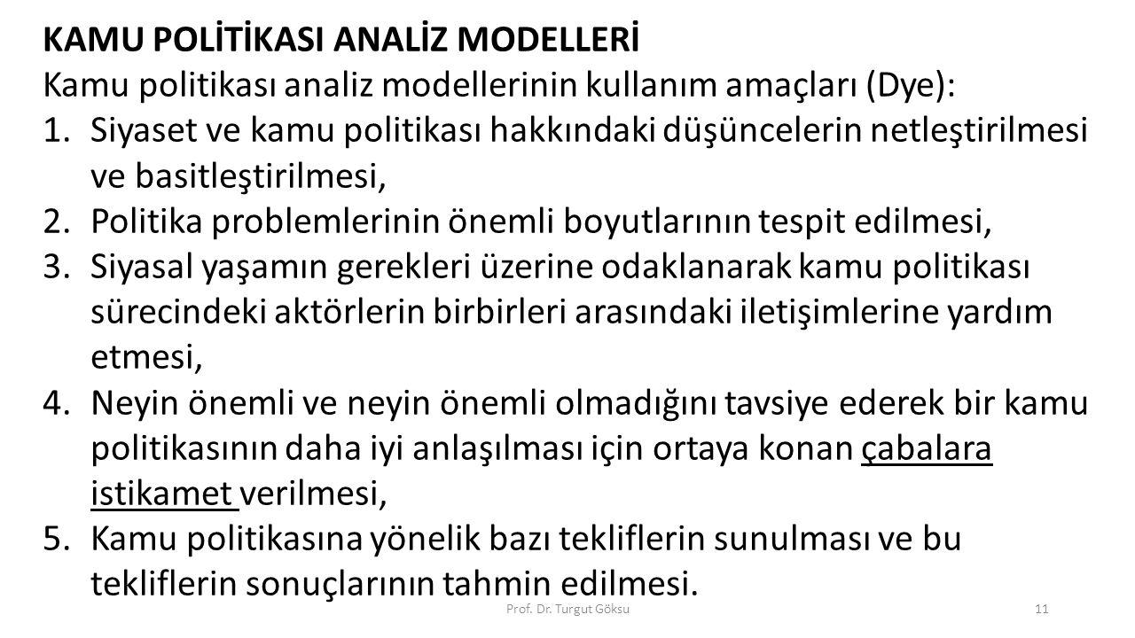 KAMU POLİTİKASI ANALİZ MODELLERİ