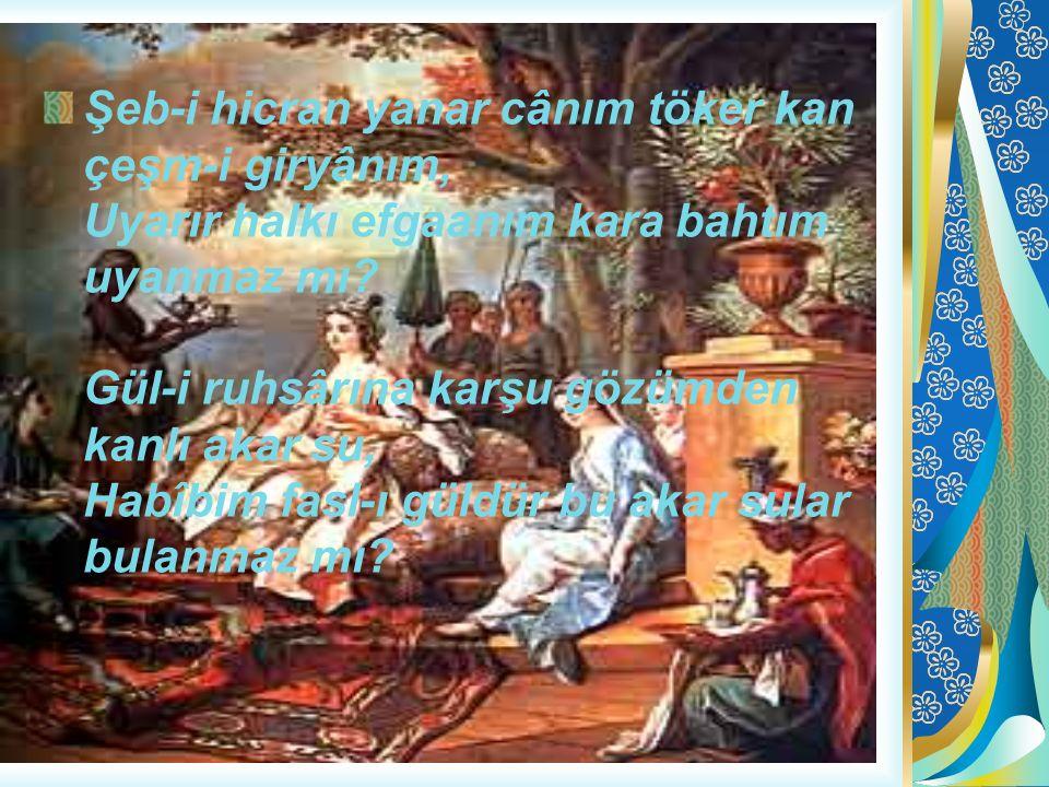 Şeb-i hicran yanar cânım töker kan çeşm-i giryânım, Uyarır halkı efgaanım kara bahtım uyanmaz mı.