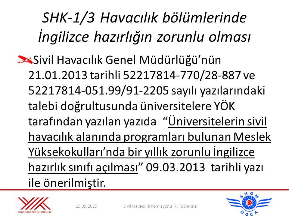 SHK-1/3 Havacılık bölümlerinde İngilizce hazırlığın zorunlu olması
