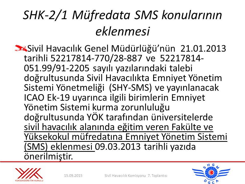 SHK-2/1 Müfredata SMS konularının eklenmesi
