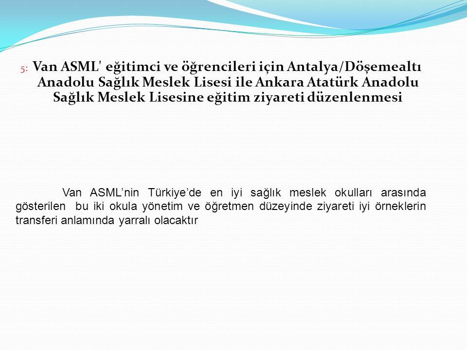 5: Van ASML eğitimci ve öğrencileri için Antalya/Döşemealtı Anadolu Sağlık Meslek Lisesi ile Ankara Atatürk Anadolu Sağlık Meslek Lisesine eğitim ziyareti düzenlenmesi