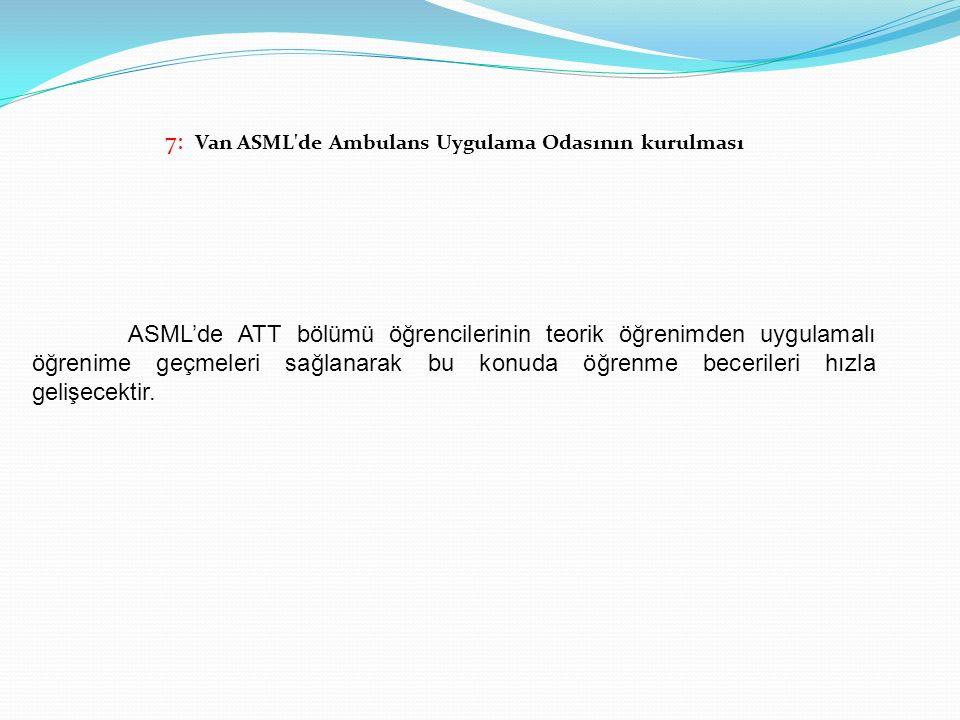 7: Van ASML de Ambulans Uygulama Odasının kurulması
