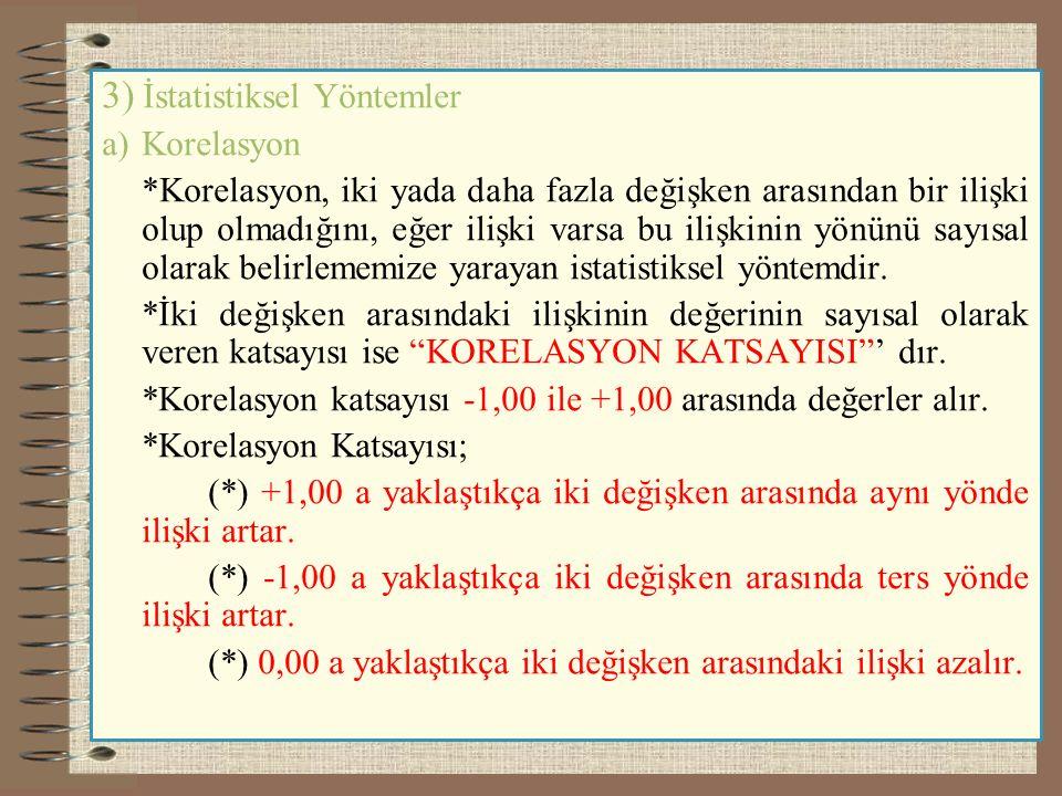 3) İstatistiksel Yöntemler