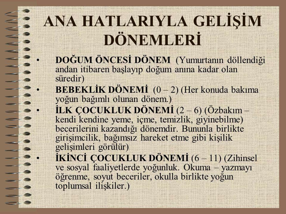 ANA HATLARIYLA GELİŞİM DÖNEMLERİ