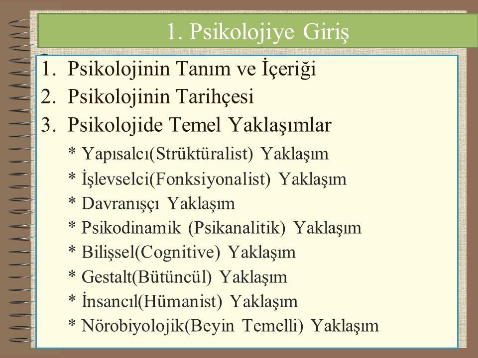 1. Psikolojiye Giriş Psikolojinin Tanım ve İçeriği