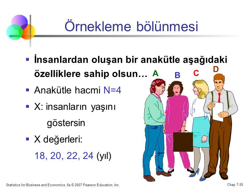 Örnekleme bölünmesi İnsanlardan oluşan bir anakütle aşağıdaki özelliklere sahip olsun… Anakütle hacmi N=4.