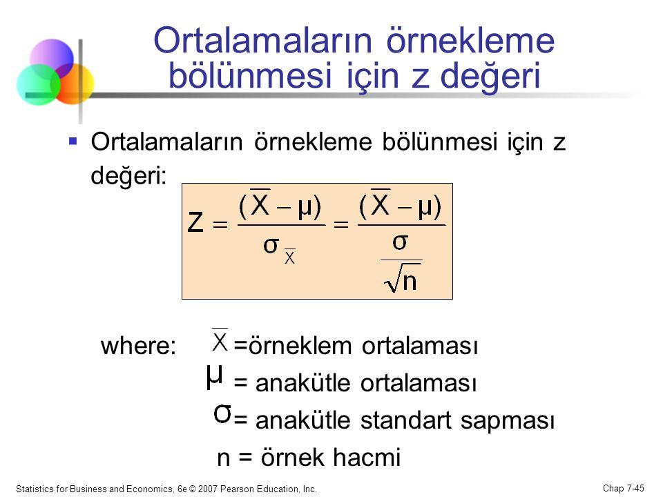 Ortalamaların örnekleme bölünmesi için z değeri