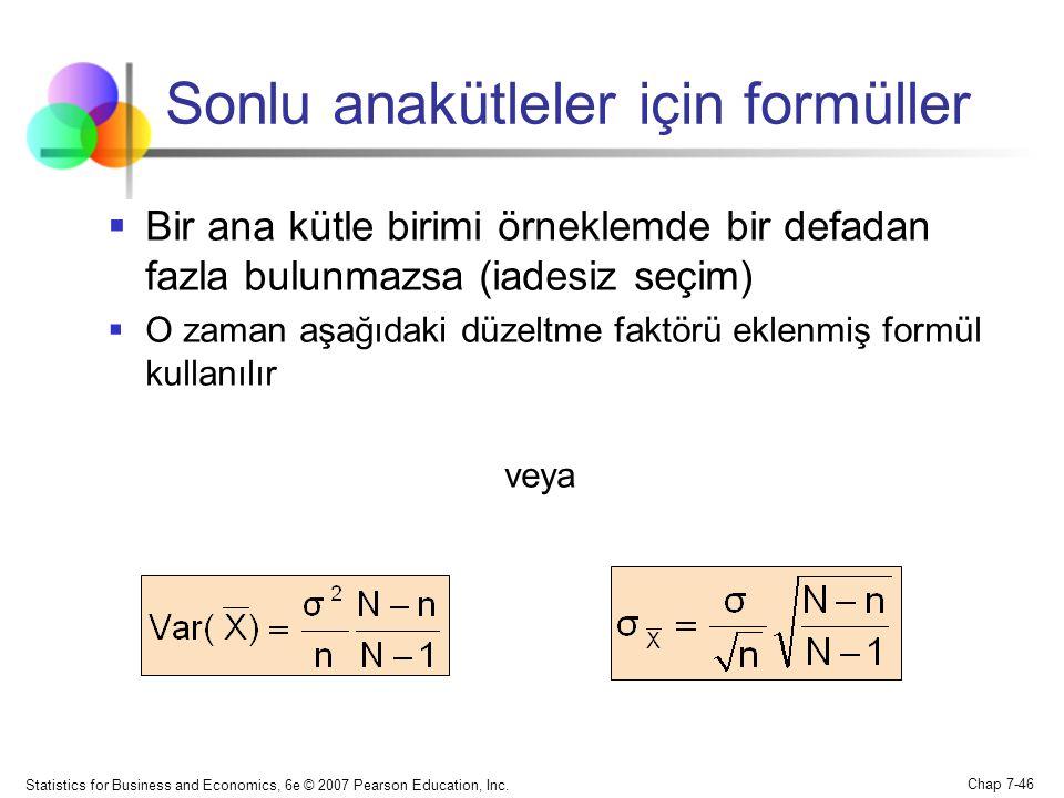 Sonlu anakütleler için formüller