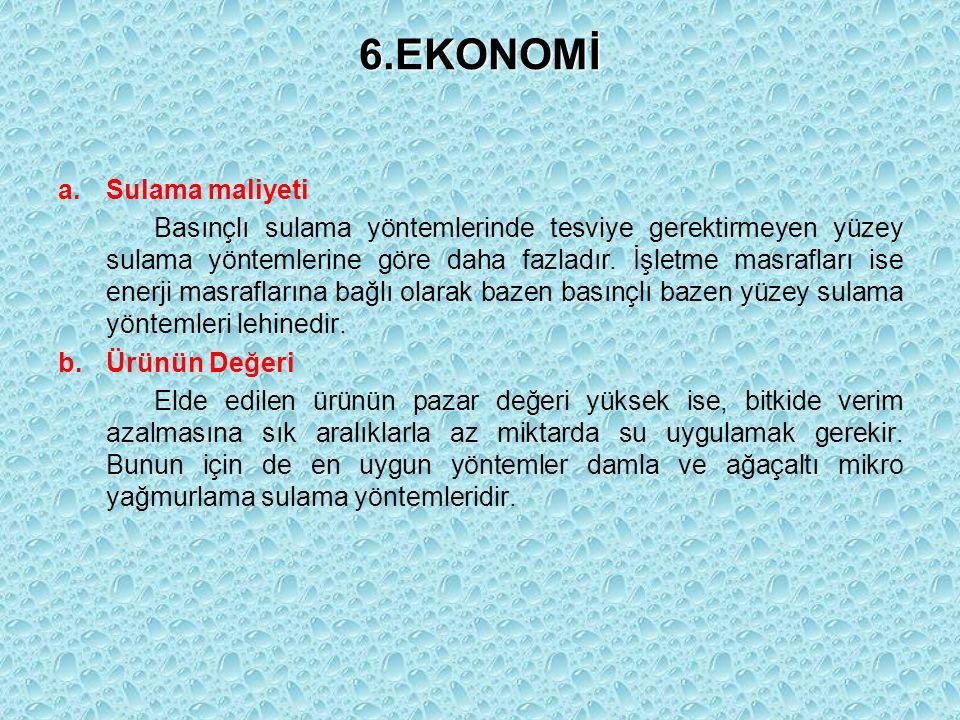 6.EKONOMİ Sulama maliyeti