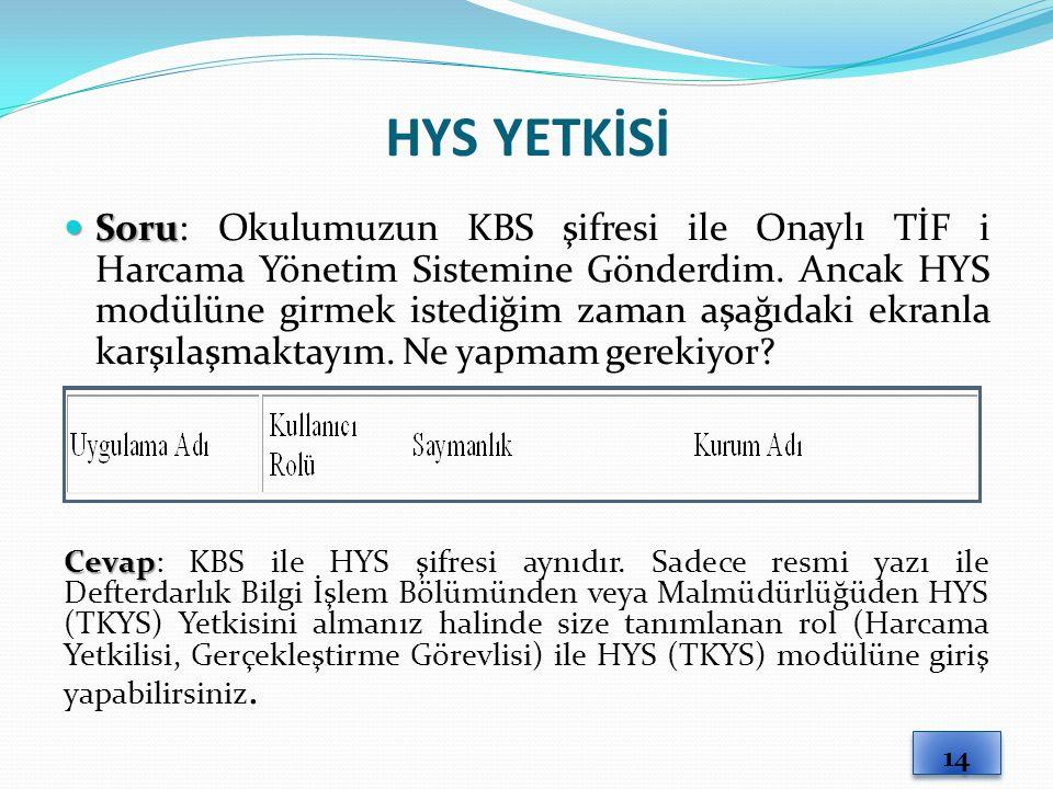 HYS YETKİSİ
