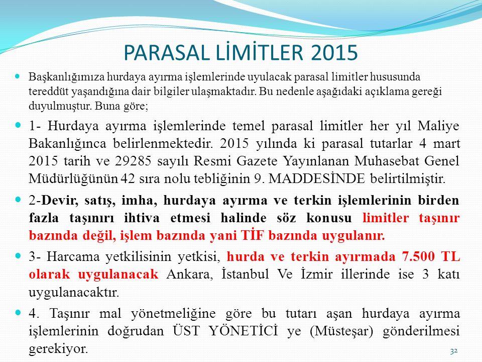 PARASAL LİMİTLER 2015