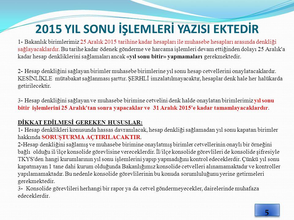 2015 YIL SONU İŞLEMLERİ YAZISI EKTEDİR