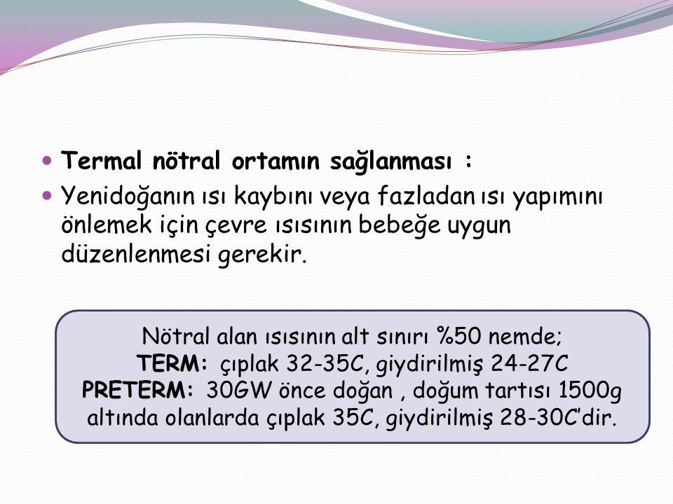 Termal nötral ortamın sağlanması :