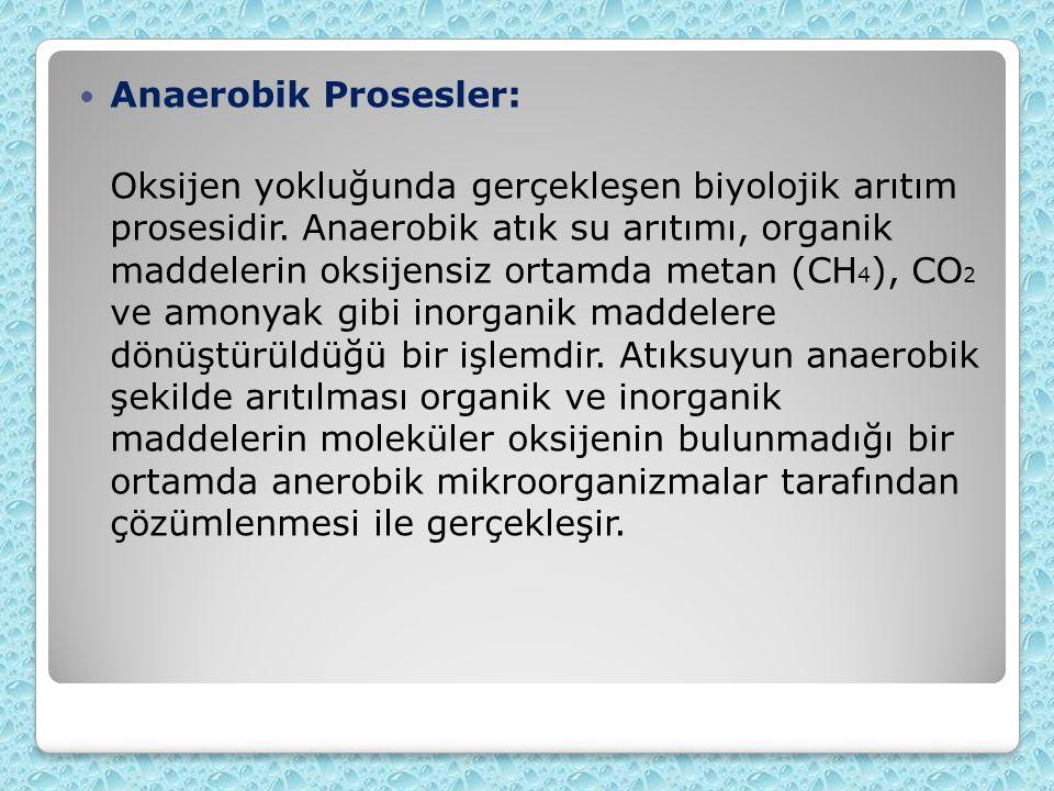 Anaerobik Prosesler: Oksijen yokluğunda gerçekleşen biyolojik arıtım prosesidir.