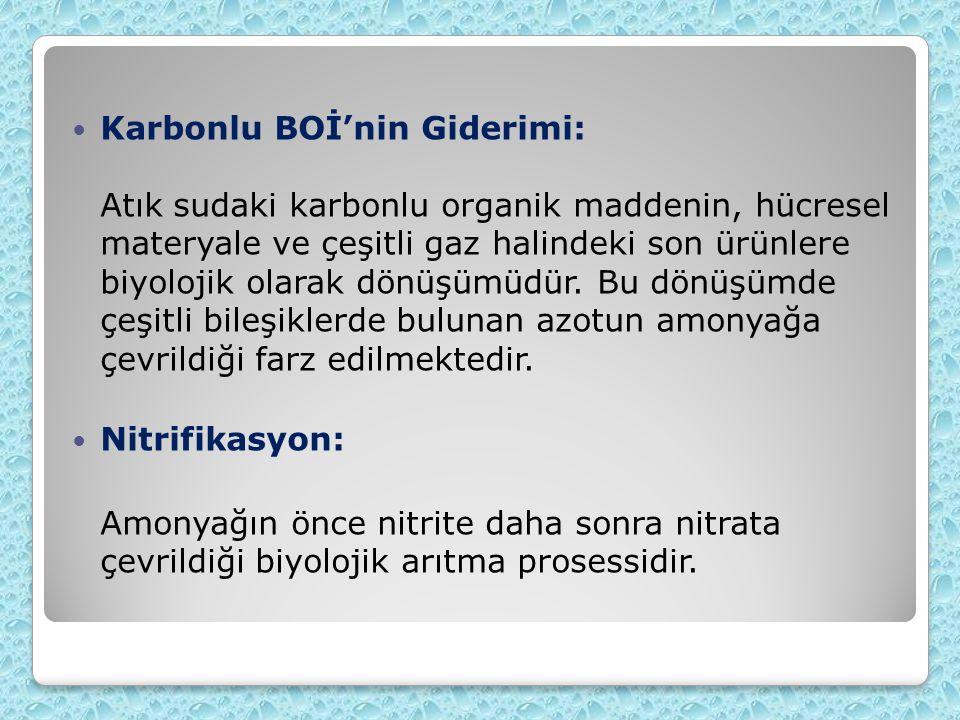 Karbonlu BOİ'nin Giderimi: Atık sudaki karbonlu organik maddenin, hücresel materyale ve çeşitli gaz halindeki son ürünlere biyolojik olarak dönüşümüdür. Bu dönüşümde çeşitli bileşiklerde bulunan azotun amonyağa çevrildiği farz edilmektedir.