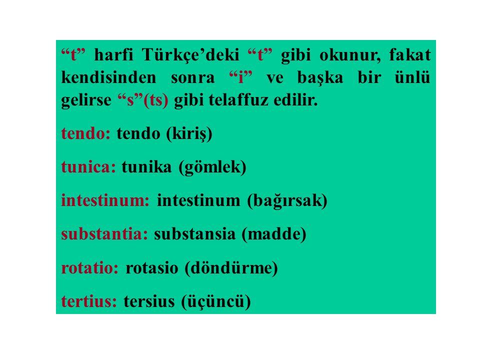 t harfi Türkçe'deki t gibi okunur, fakat kendisinden sonra i ve başka bir ünlü gelirse s (ts) gibi telaffuz edilir.