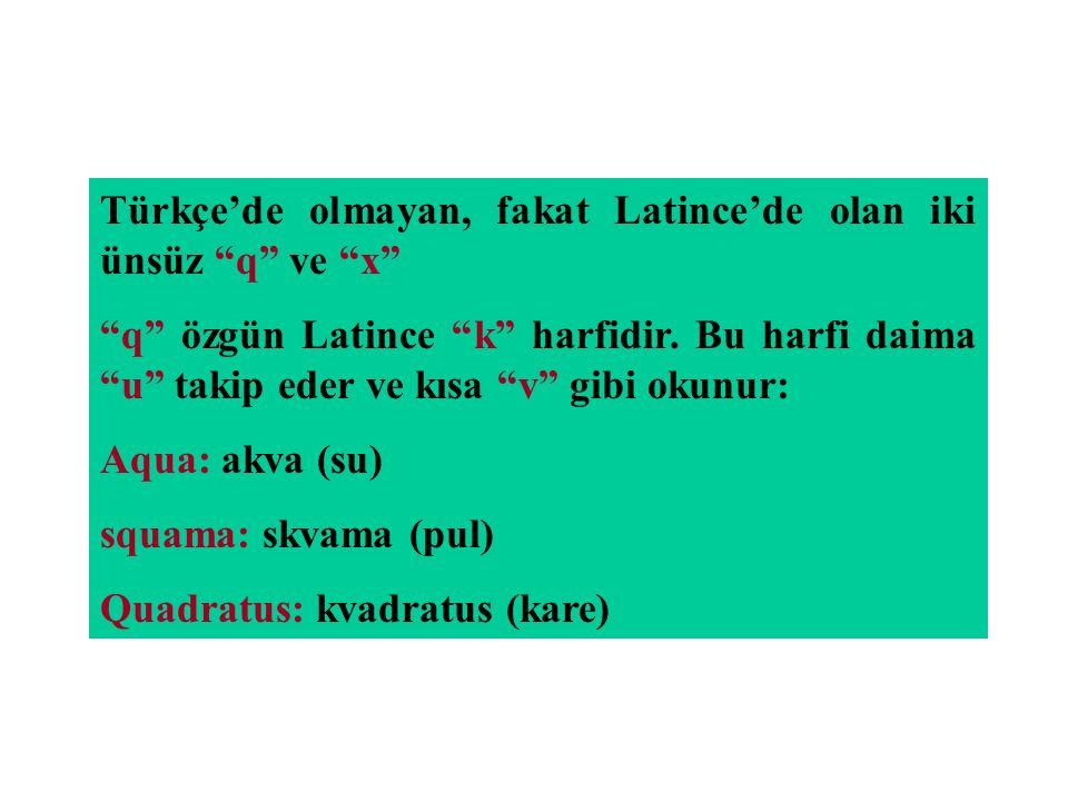 Türkçe'de olmayan, fakat Latince'de olan iki ünsüz q ve x