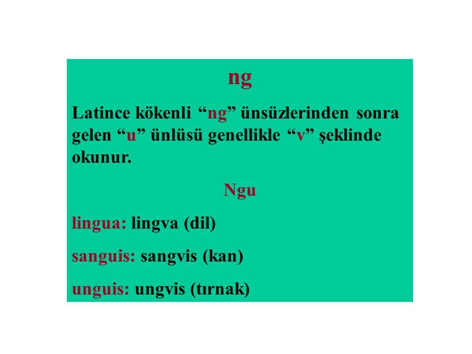 ng Latince kökenli ng ünsüzlerinden sonra gelen u ünlüsü genellikle v şeklinde okunur. Ngu. lingua: lingva (dil)