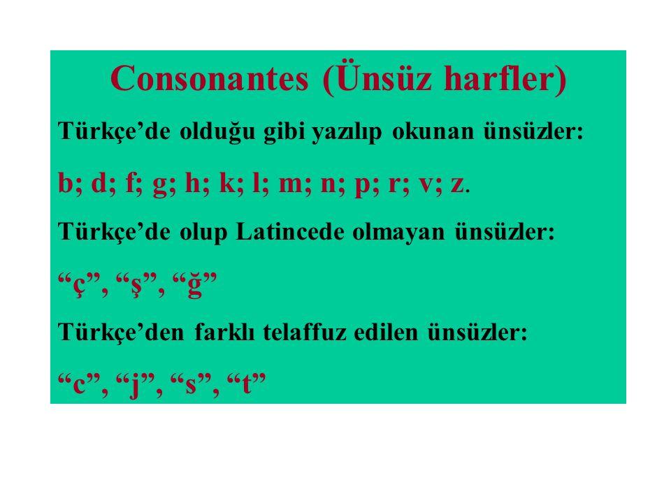 Consonantes (Ünsüz harfler)