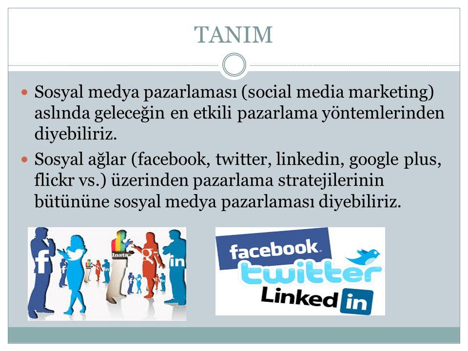 TANIM Sosyal medya pazarlaması (social media marketing) aslında geleceğin en etkili pazarlama yöntemlerinden diyebiliriz.