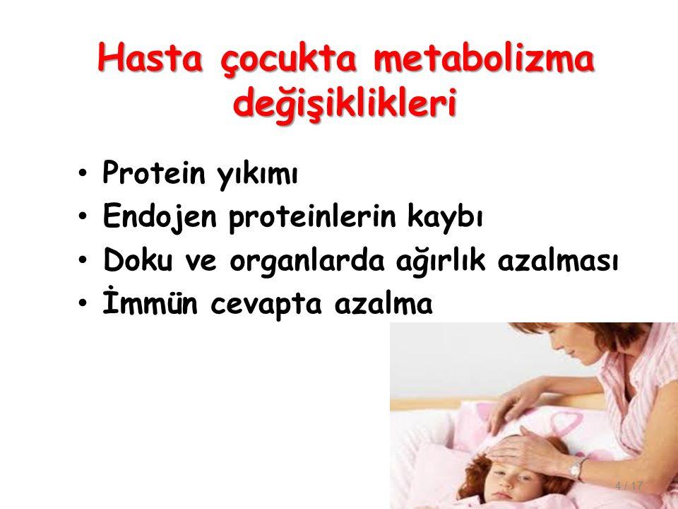 Hasta çocukta metabolizma değişiklikleri