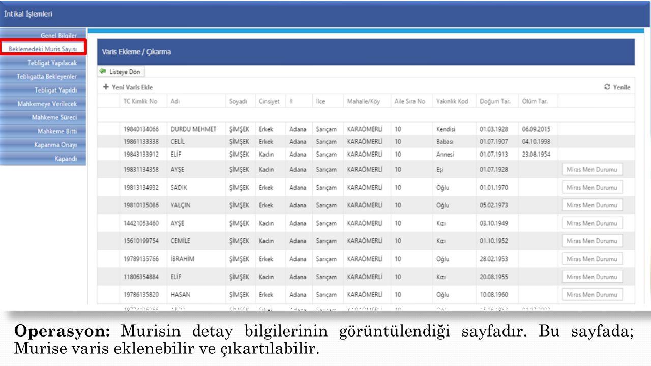 Operasyon: Murisin detay bilgilerinin görüntülendiği sayfadır