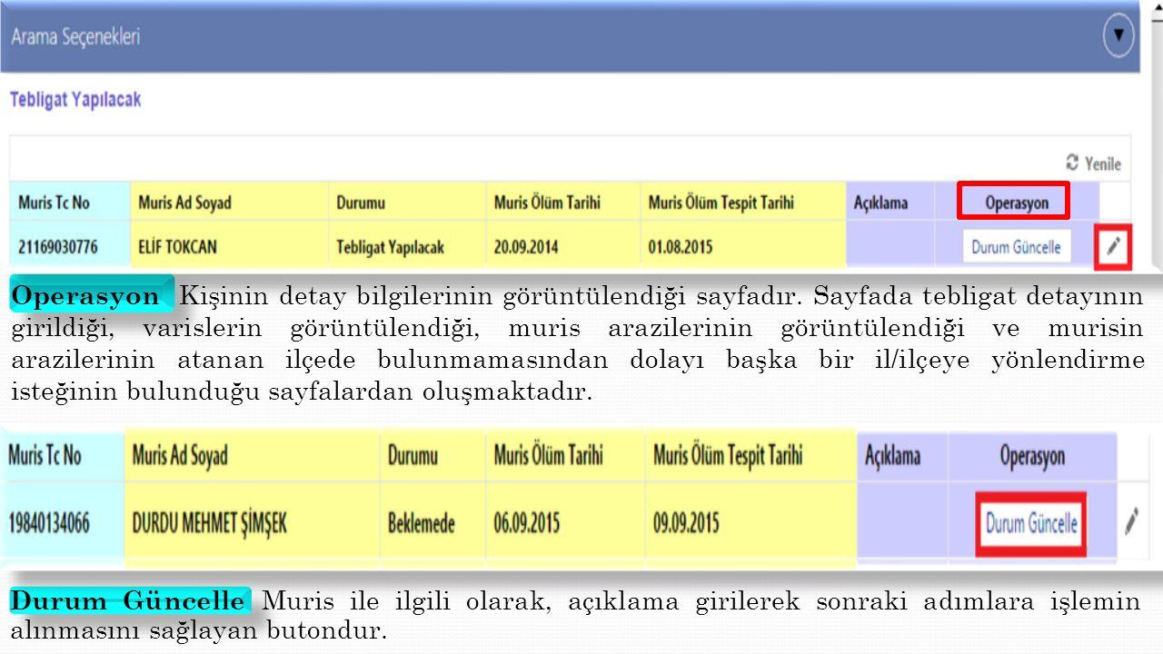Operasyon Kişinin detay bilgilerinin görüntülendiği sayfadır