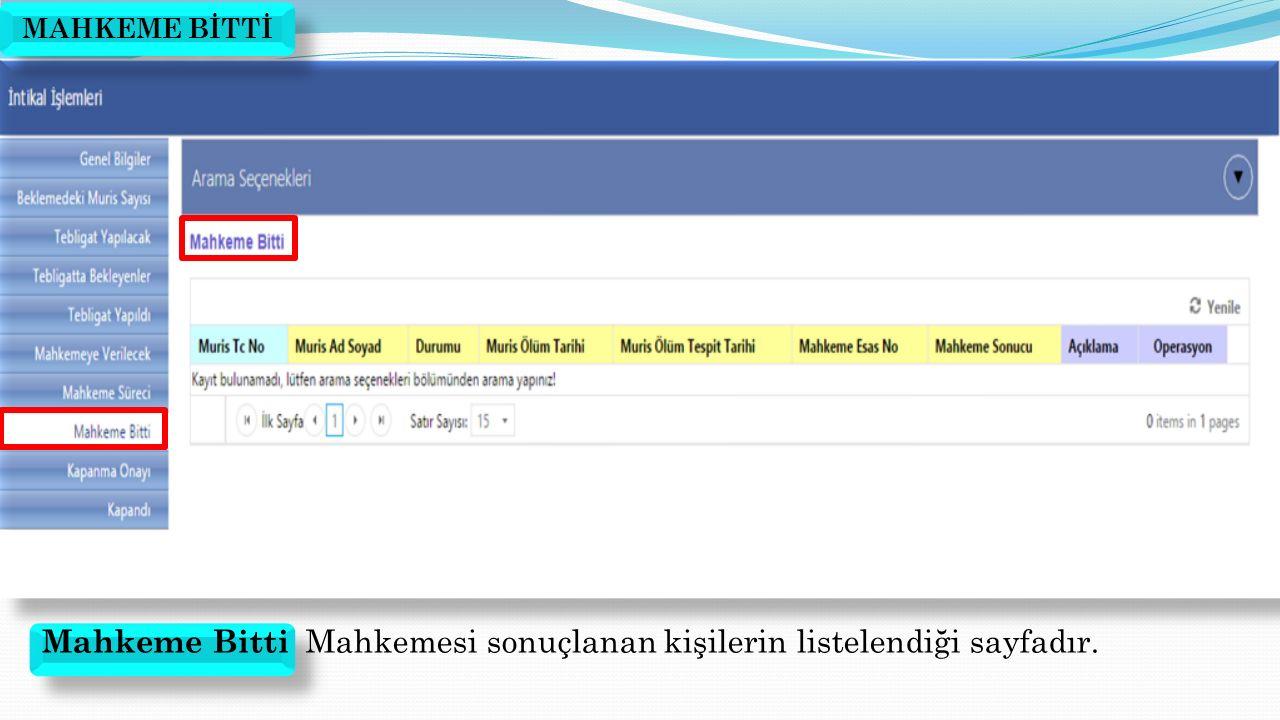 Mahkeme Bitti Mahkemesi sonuçlanan kişilerin listelendiği sayfadır.