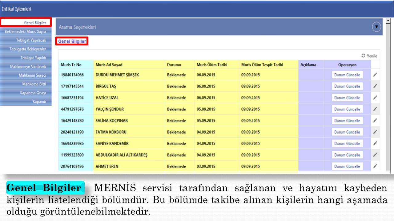 Genel Bilgiler MERNİS servisi tarafından sağlanan ve hayatını kaybeden kişilerin listelendiği bölümdür.