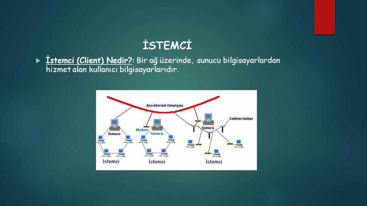 İSTEMCİ İstemci (Client) Nedir : Bir ağ üzerinde, sunucu bilgisayarlardan hizmet alan kullanıcı bilgisayarlarıdır.