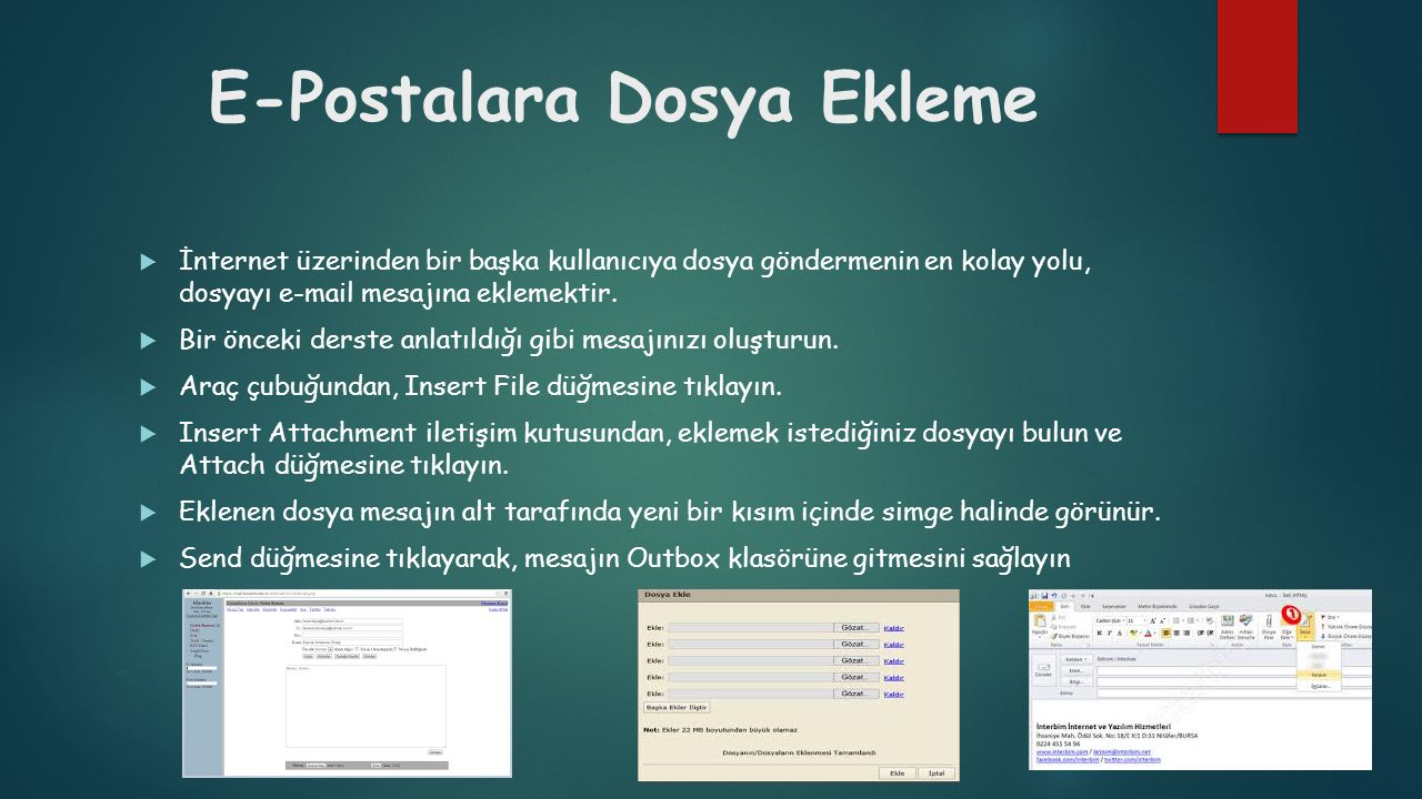 E-Postalara Dosya Ekleme