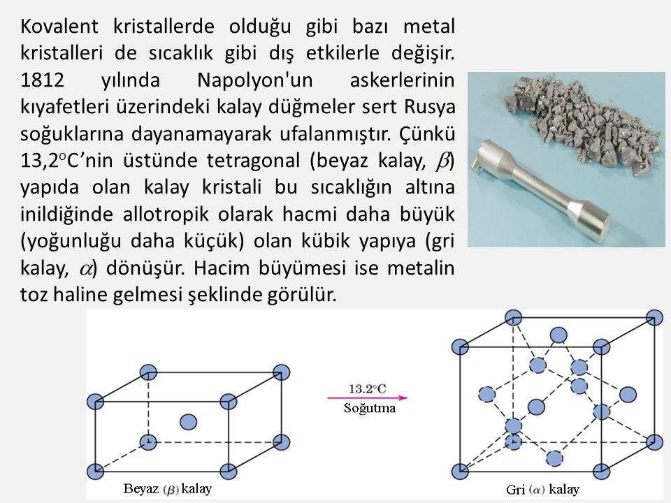 Kovalent kristallerde olduğu gibi bazı metal kristalleri de sıcaklık gibi dış etkilerle değişir.