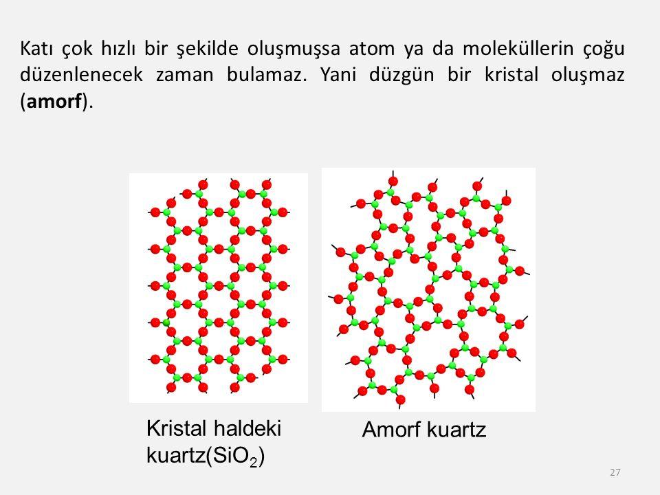 Katı çok hızlı bir şekilde oluşmuşsa atom ya da moleküllerin çoğu düzenlenecek zaman bulamaz. Yani düzgün bir kristal oluşmaz (amorf).