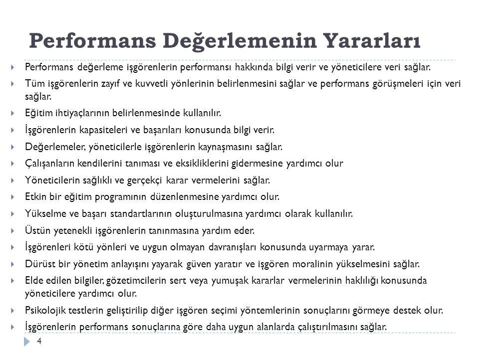 Performans Değerlemenin Yararları
