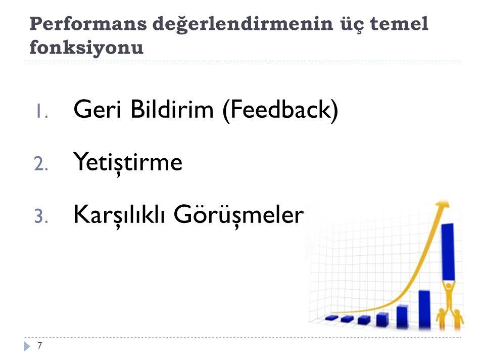 Performans değerlendirmenin üç temel fonksiyonu
