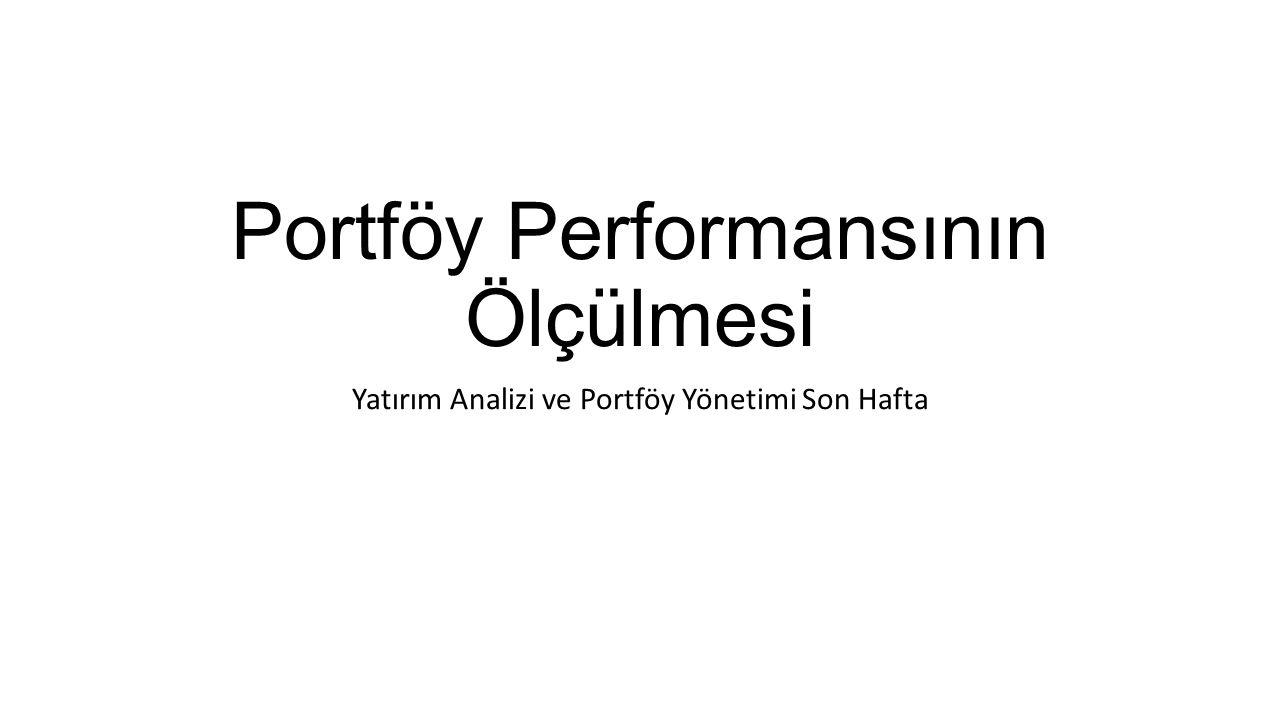 Portföy Performansının Ölçülmesi