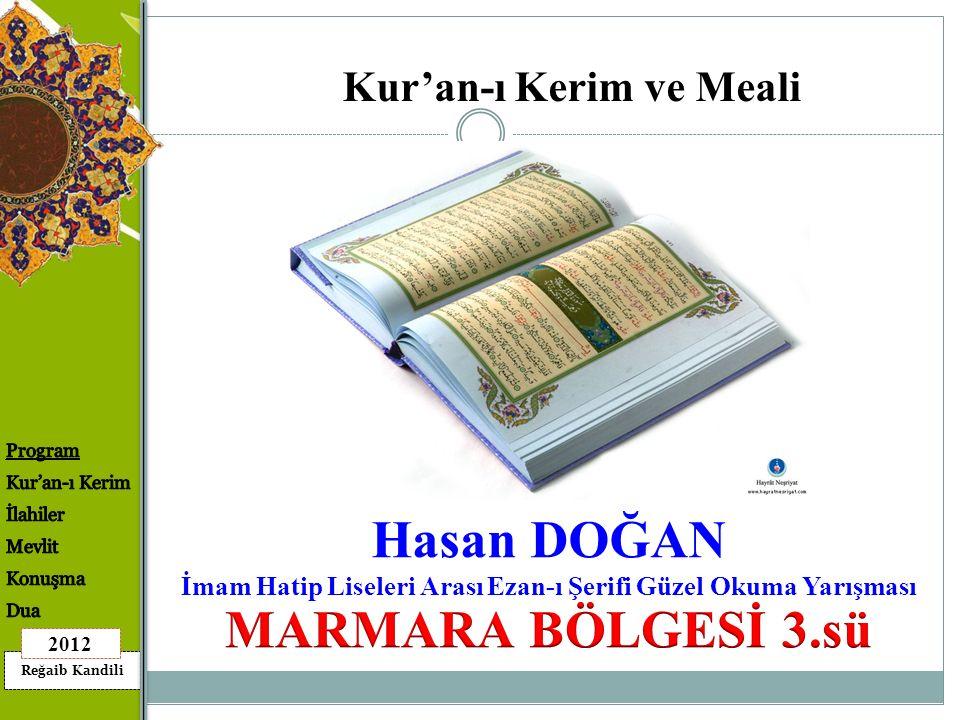 Hasan DOĞAN MARMARA BÖLGESİ 3.sü