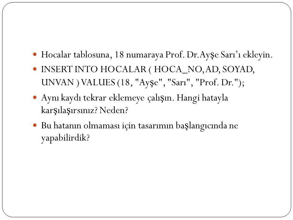 Hocalar tablosuna, 18 numaraya Prof. Dr.Ayşe Sarı'ı ekleyin.