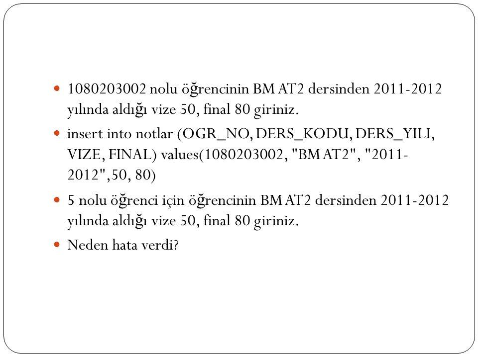 1080203002 nolu öğrencinin BM AT2 dersinden 2011-2012 yılında aldığı vize 50, final 80 giriniz.