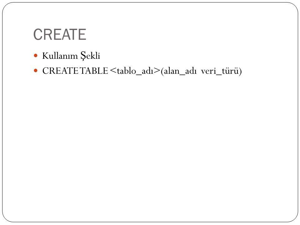 CREATE Kullanım Şekli CREATE TABLE <tablo_adı>(alan_adı veri_türü)