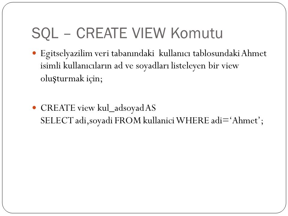 SQL – CREATE VIEW Komutu