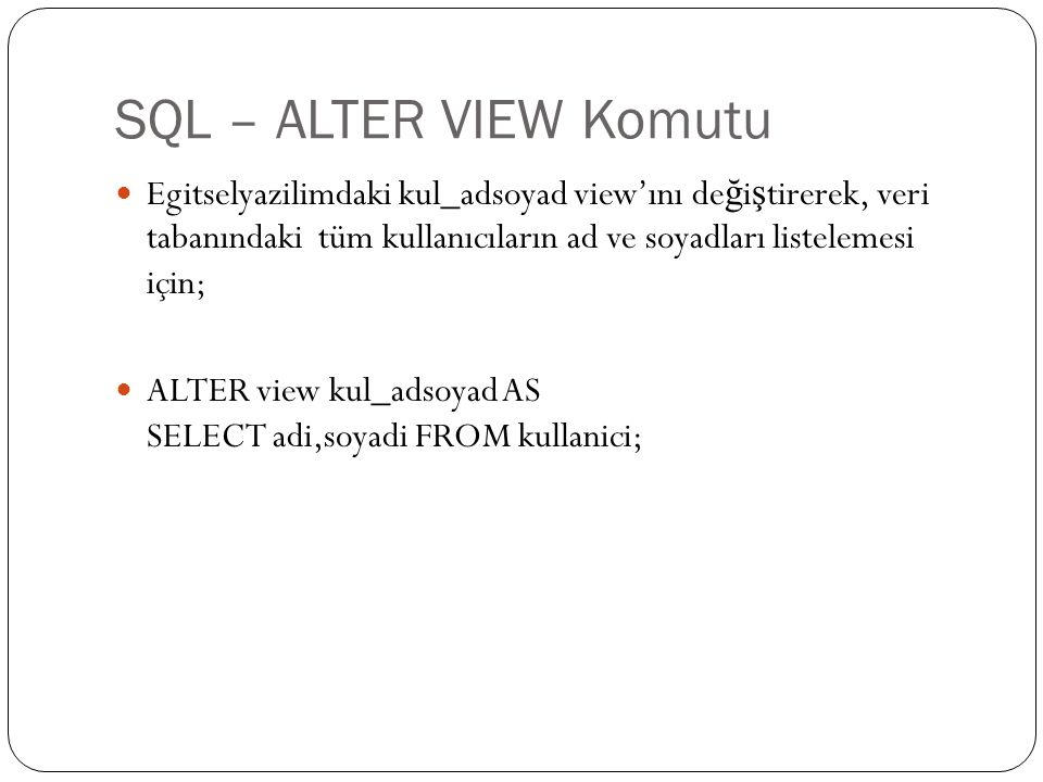 SQL – ALTER VIEW Komutu