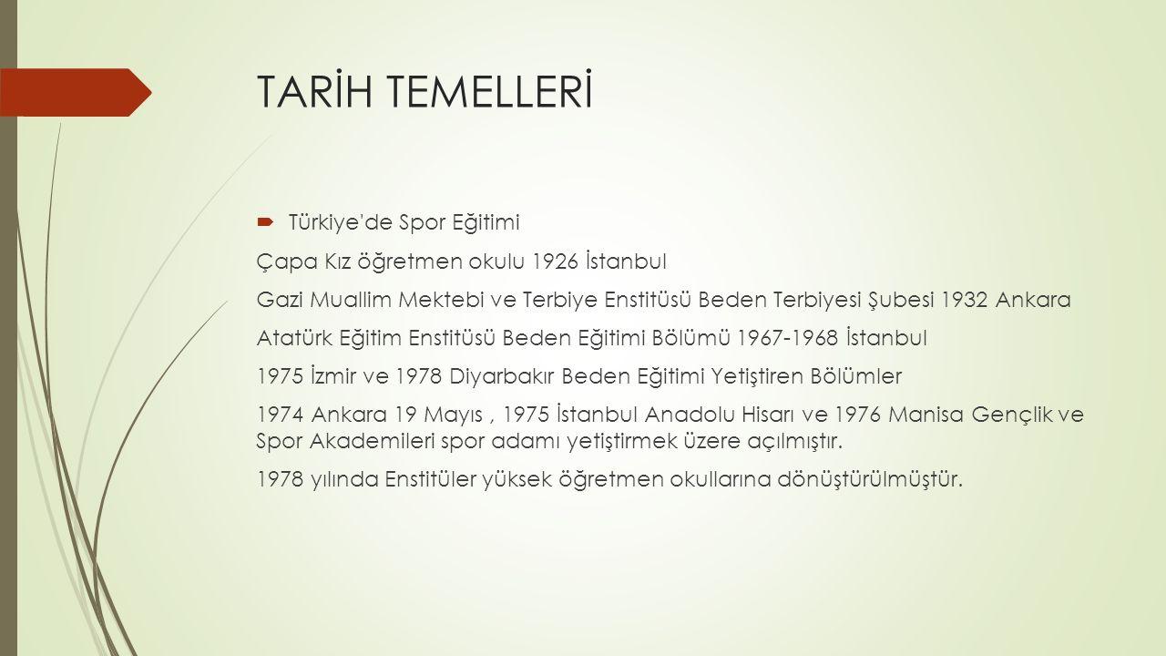 TARİH TEMELLERİ Türkiye de Spor Eğitimi
