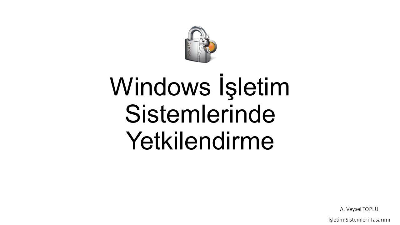 Windows İşletim Sistemlerinde Yetkilendirme