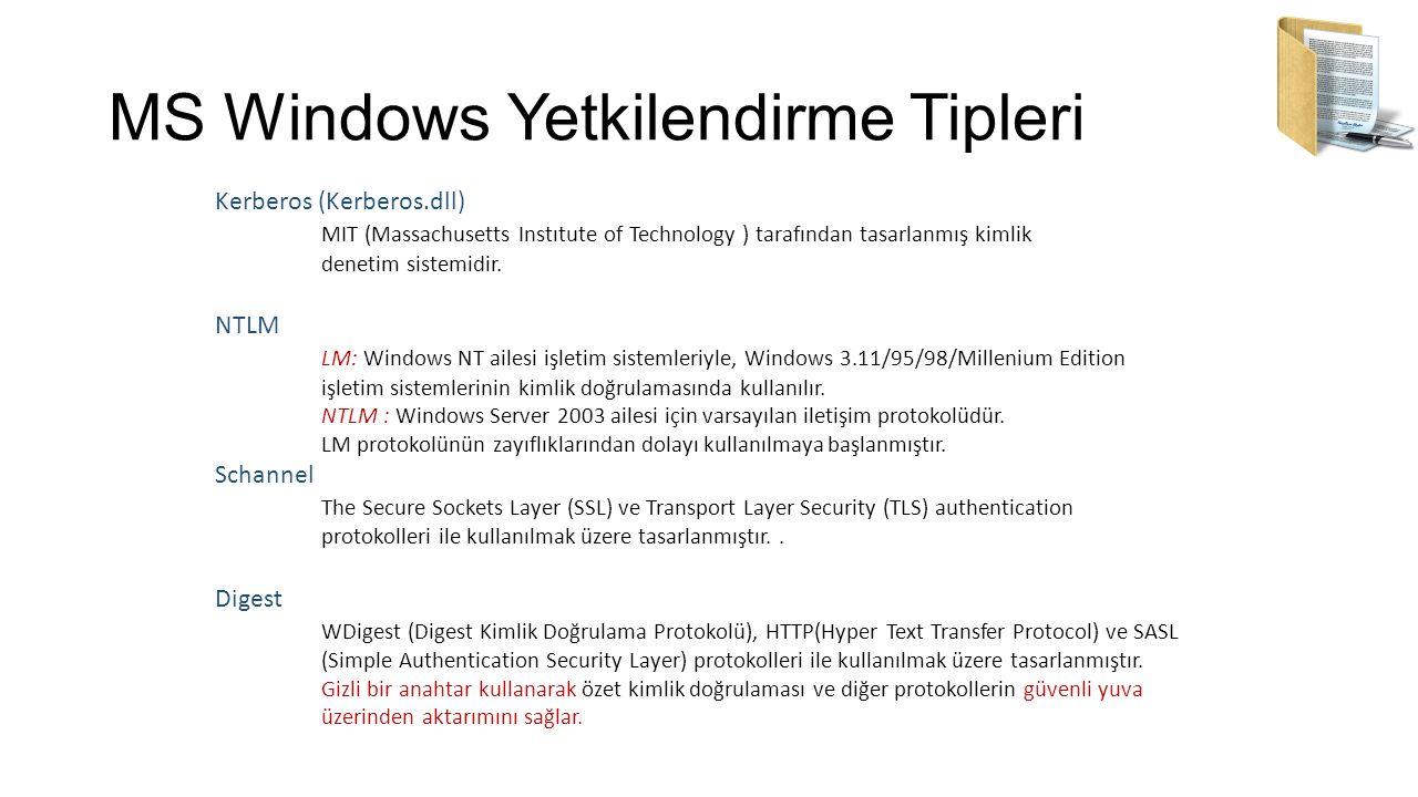 MS Windows Yetkilendirme Tipleri