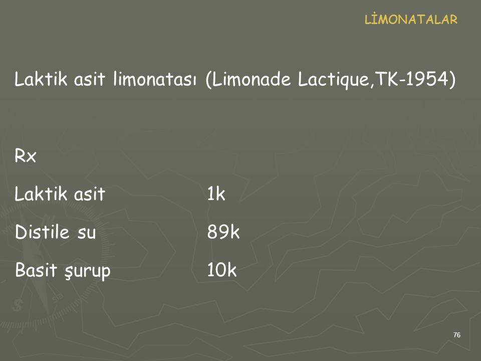 Laktik asit limonatası (Limonade Lactique,TK-1954)