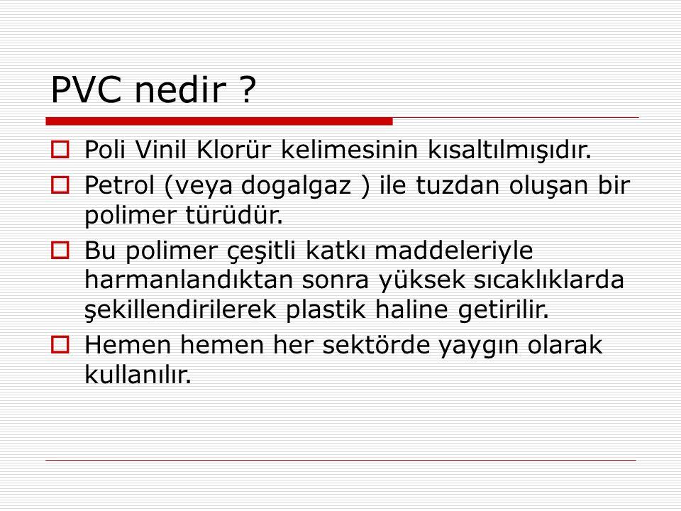 PVC nedir Poli Vinil Klorür kelimesinin kısaltılmışıdır.