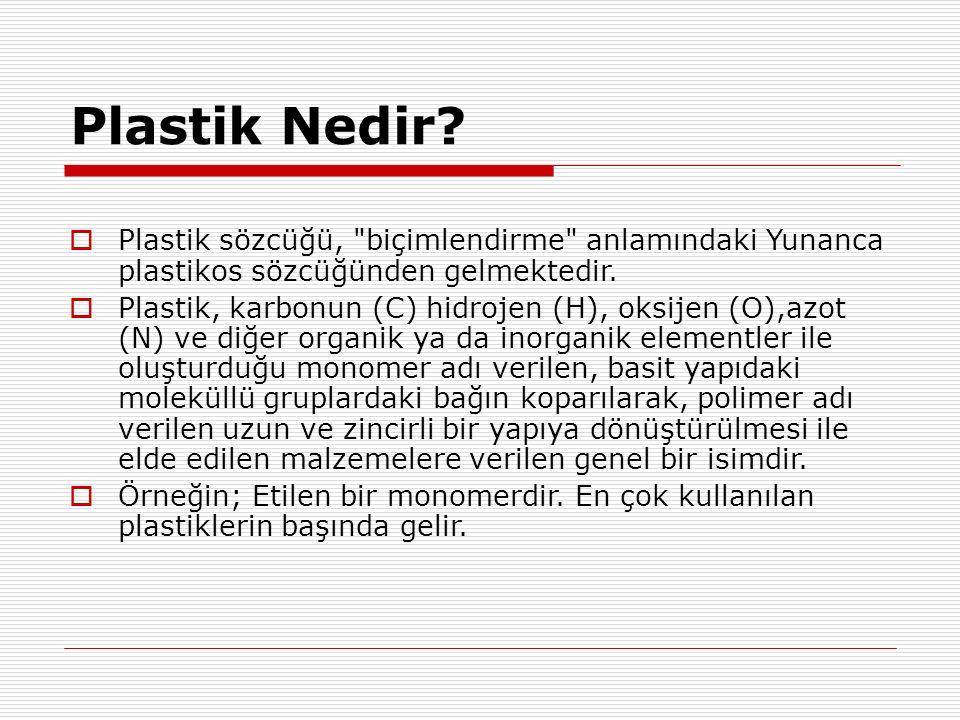 Plastik Nedir Plastik sözcüğü, biçimlendirme anlamındaki Yunanca plastikos sözcüğünden gelmektedir.